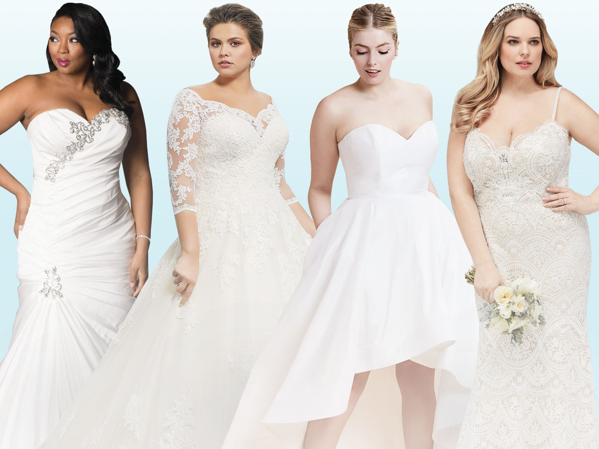 Tips for bridal party dresses for plus size women and how to choose colors of dresses?